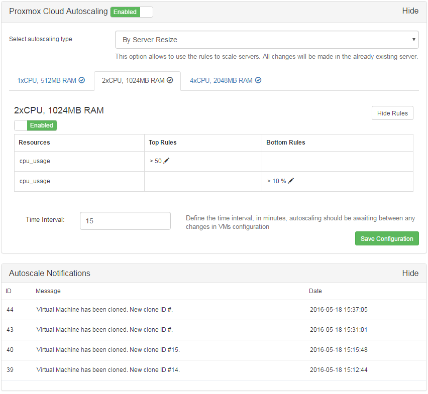 Proxmox Cloud Autoscaling For WHMCS: Screen 4
