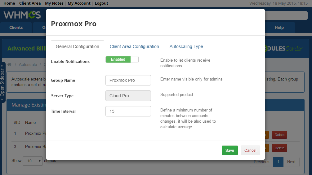 Proxmox Cloud Autoscaling For WHMCS: Screen 6