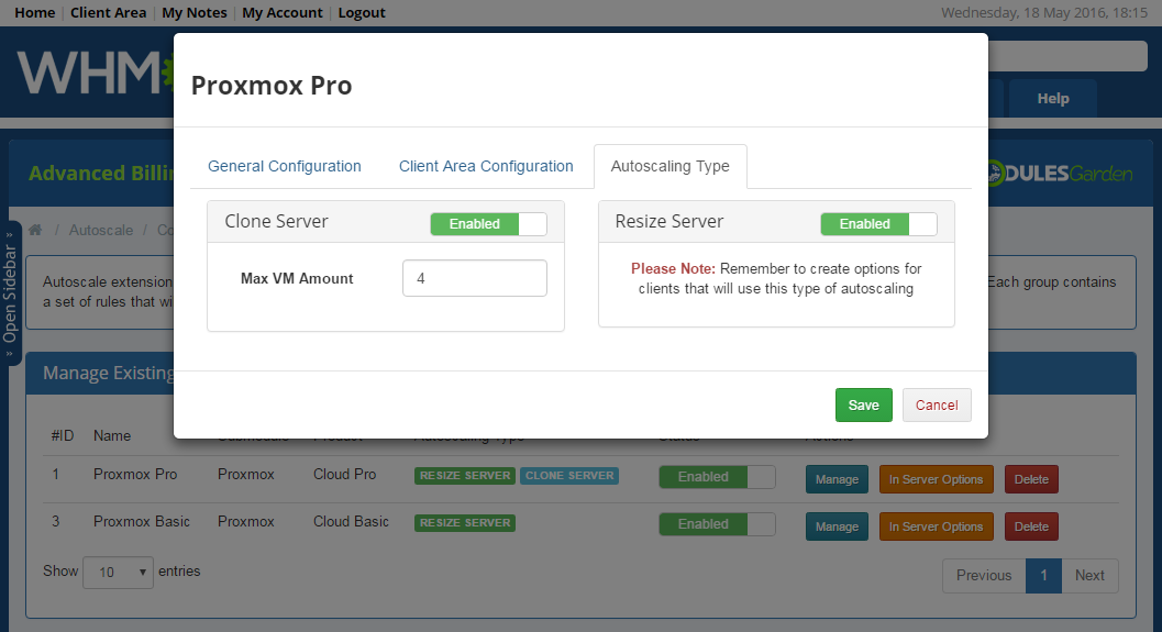 Proxmox Cloud Autoscaling For WHMCS: Screen 8