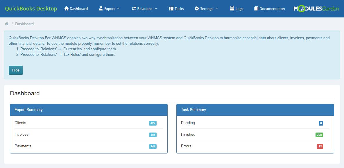 QuickBooks Desktop For WHMCS: Screen 1