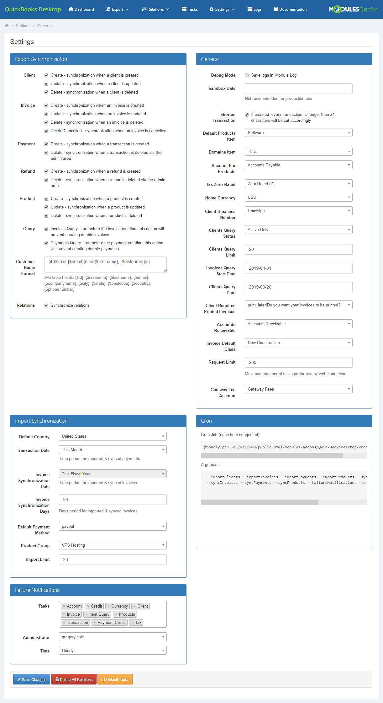 QuickBooks Desktop For WHMCS: Module Screenshot 20