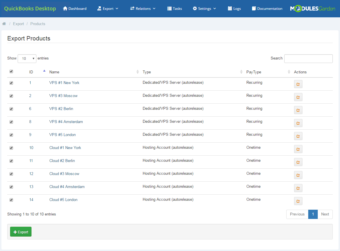 QuickBooks Desktop For WHMCS: Module Screenshot 5