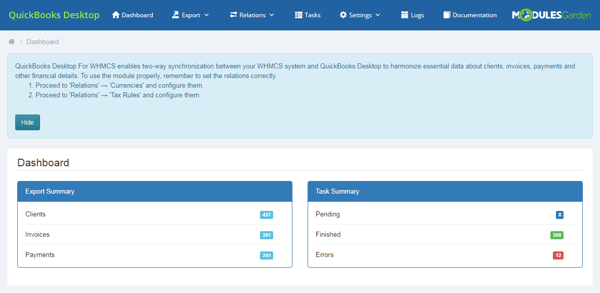 QuickBooks Desktop For WHMCS: Module Screenshot 1