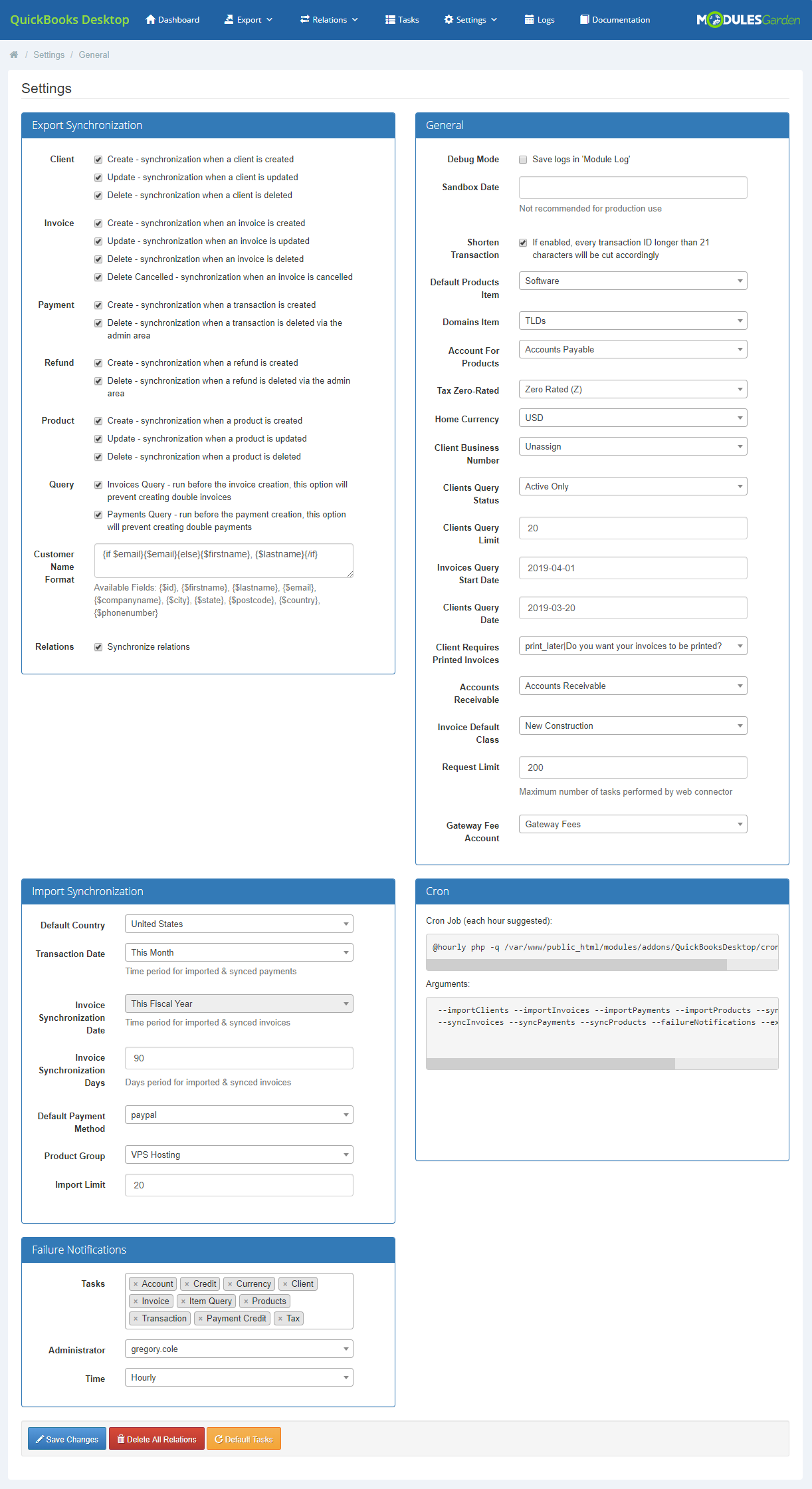 QuickBooks Desktop For WHMCS: Module Screenshot 21