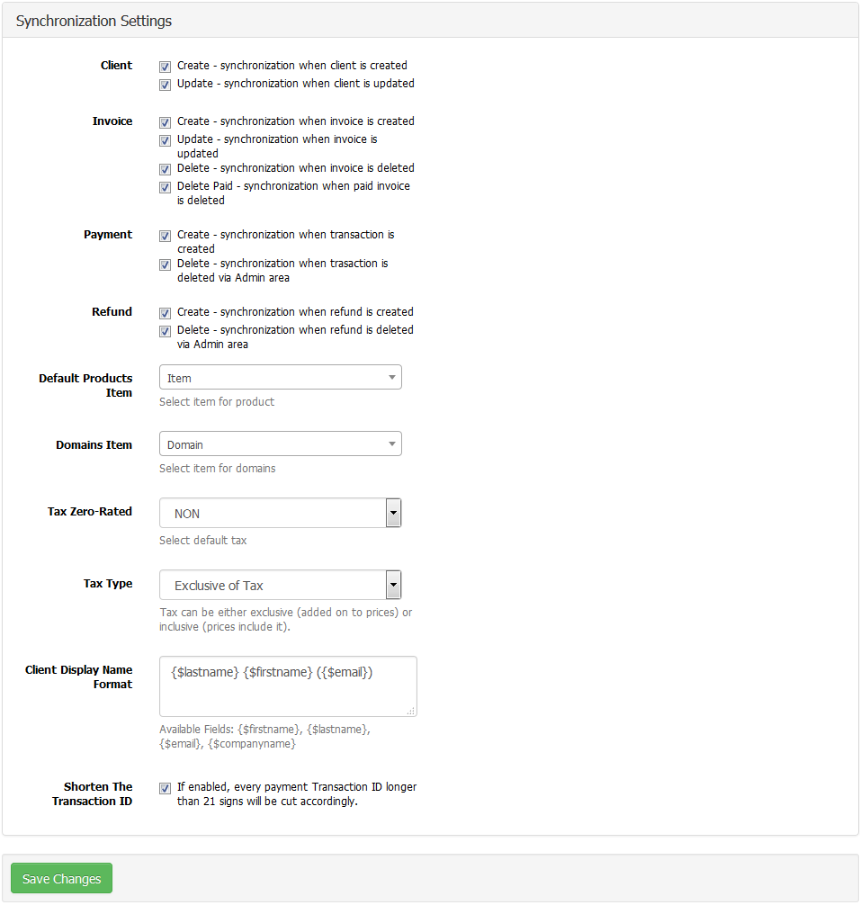 QuickBooks Online For WHMCS: Screen 10