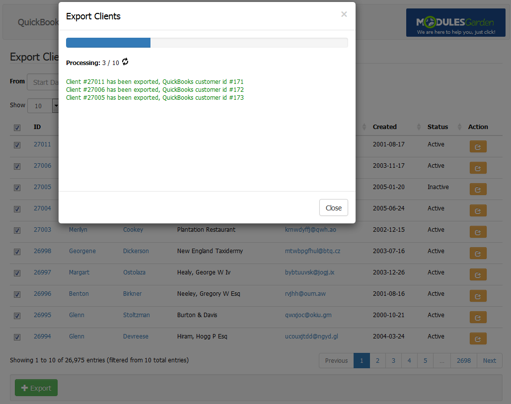 QuickBooks Online For WHMCS: Screen 3