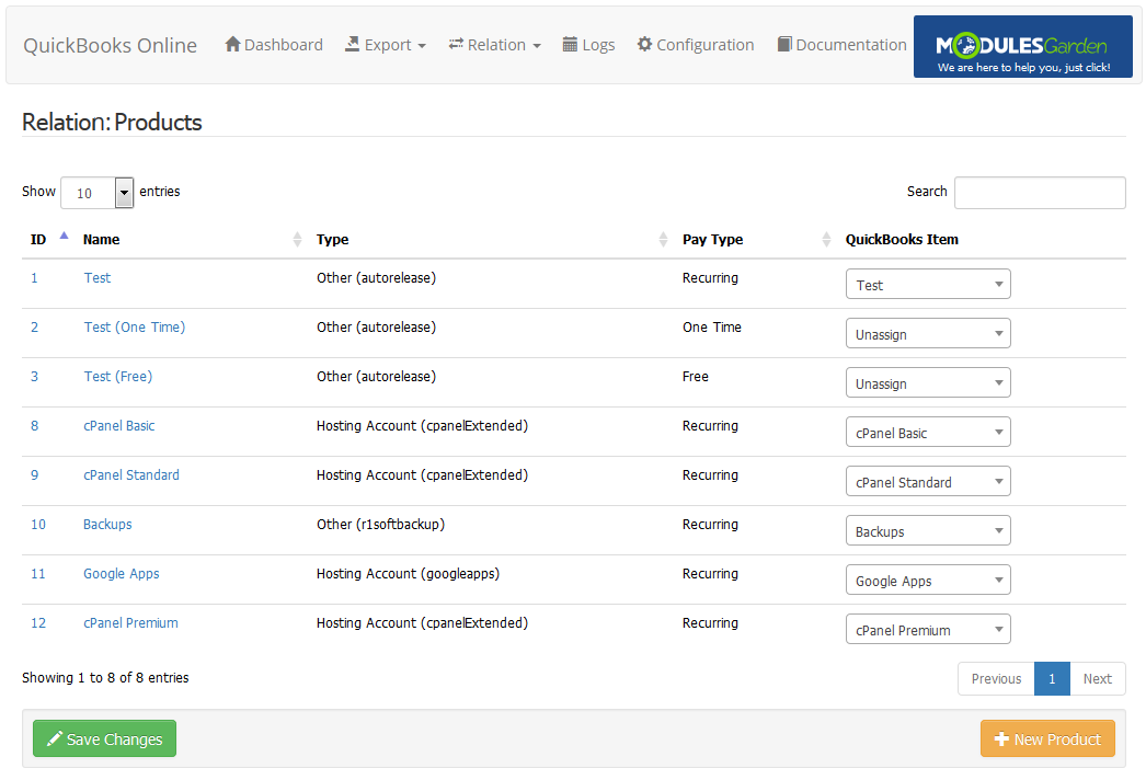 QuickBooks Online For WHMCS: Screen 5