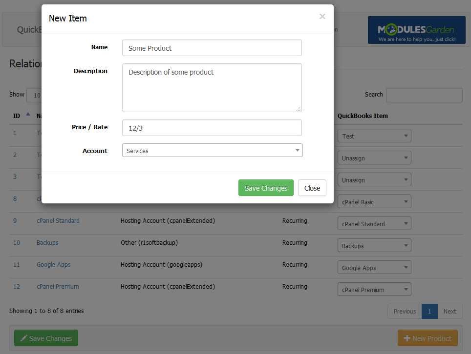 QuickBooks Online For WHMCS: Screen 6