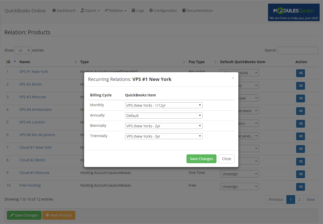 QuickBooks Online For WHMCS: Screen 8