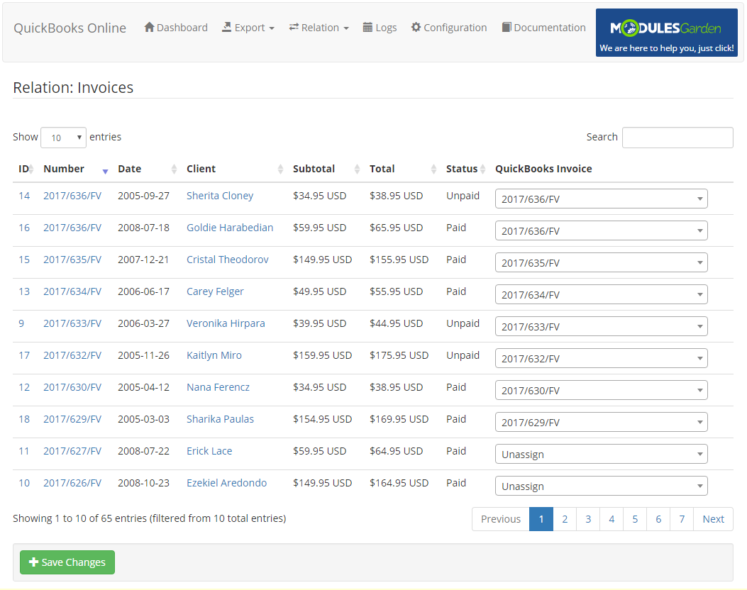 QuickBooks Online For WHMCS: Screen 12