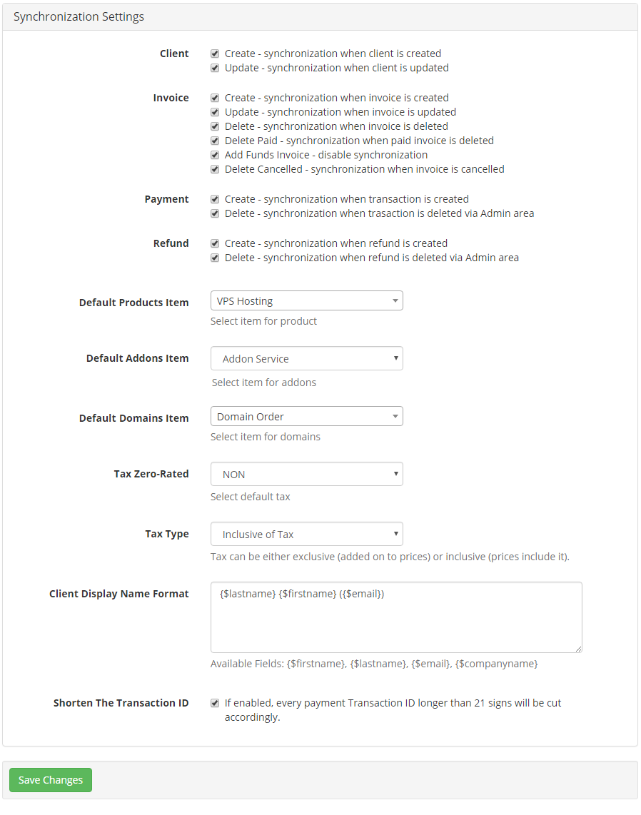QuickBooks Online For WHMCS: Screen 17