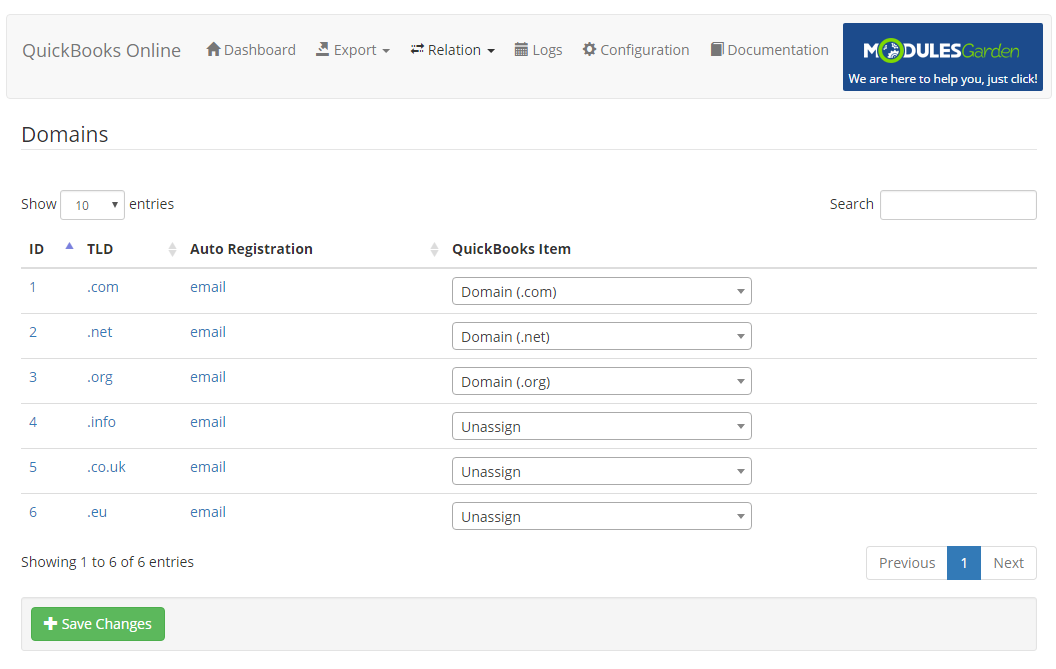 QuickBooks Online For WHMCS: Screen 9