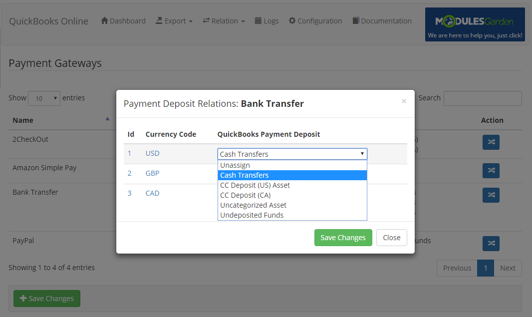 QuickBooks Online For WHMCS: Screen 15