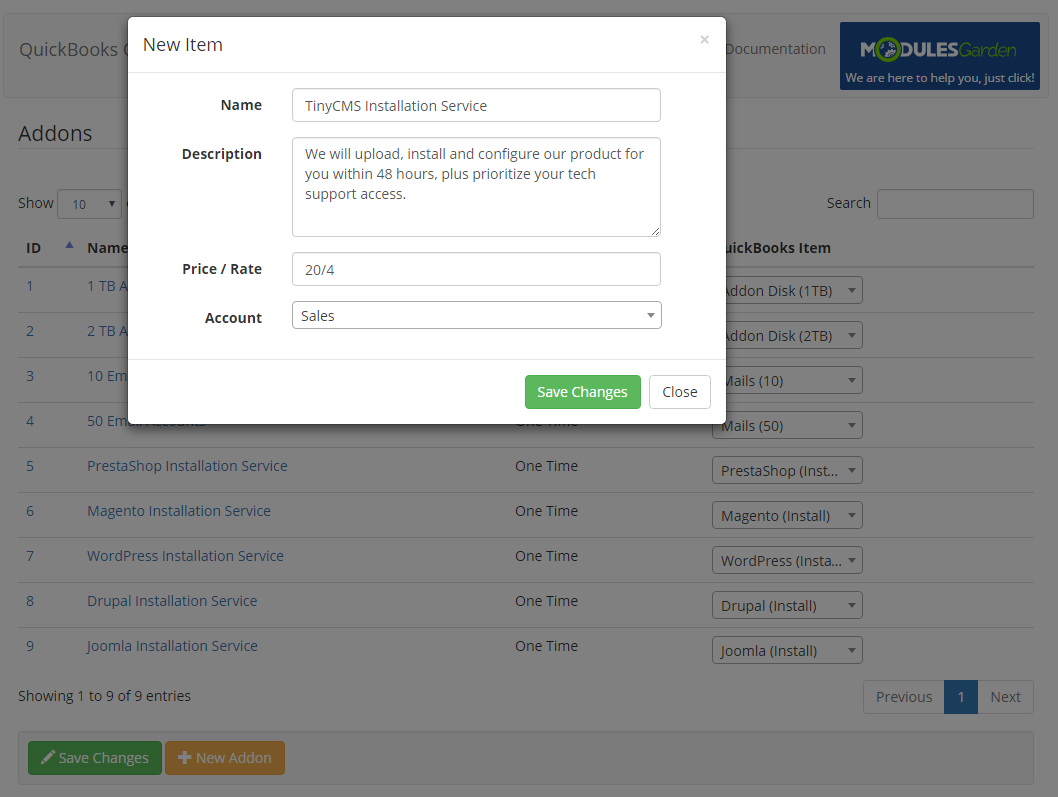 QuickBooks Online For WHMCS: Screen 11