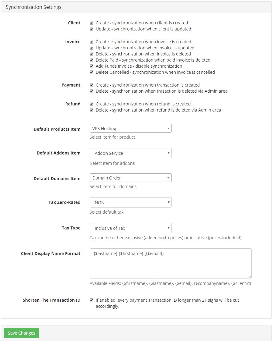 QuickBooks Online For WHMCS: Screen 18