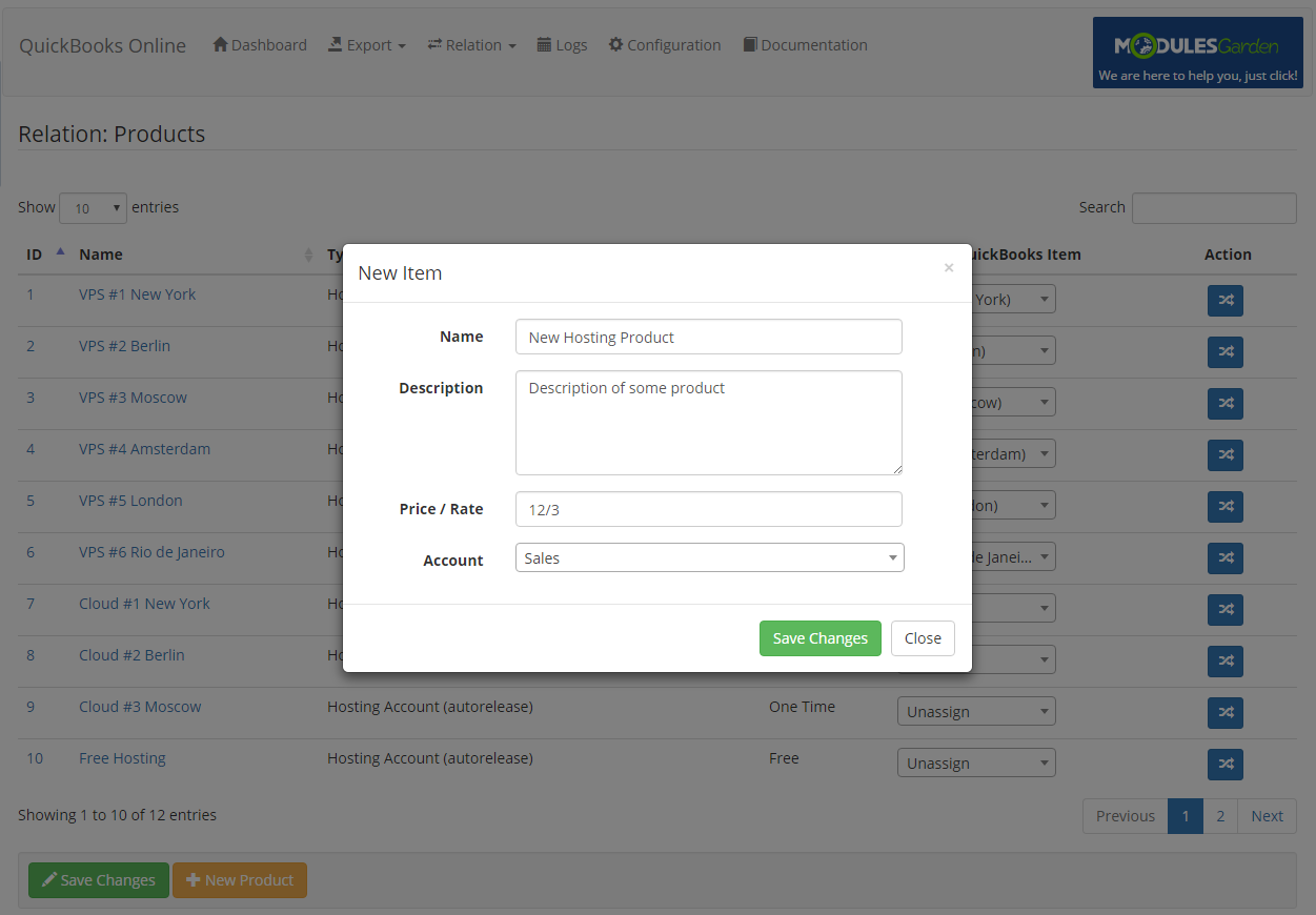 QuickBooks Online For WHMCS: Screen 7
