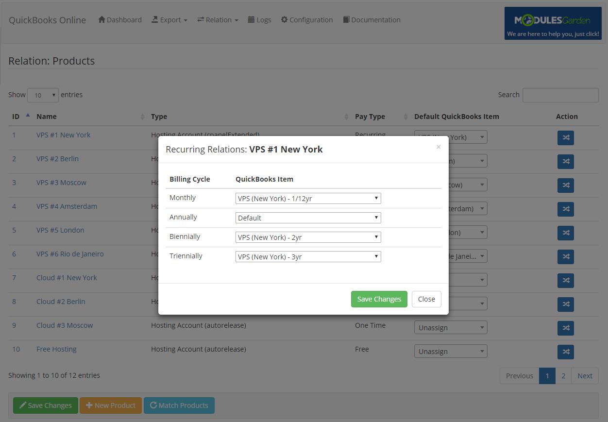 QuickBooks Online For WHMCS: Module Screenshot 9