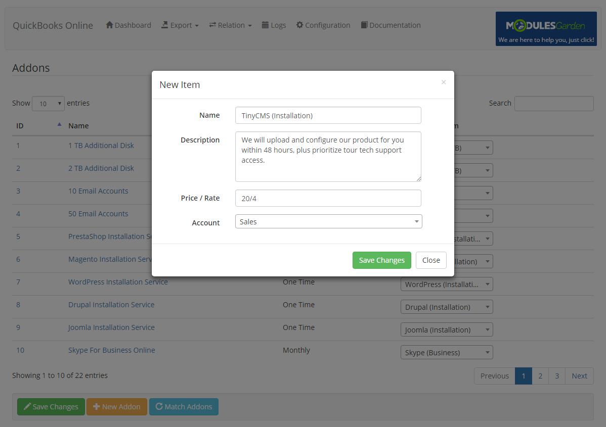 QuickBooks Online For WHMCS: Module Screenshot 11