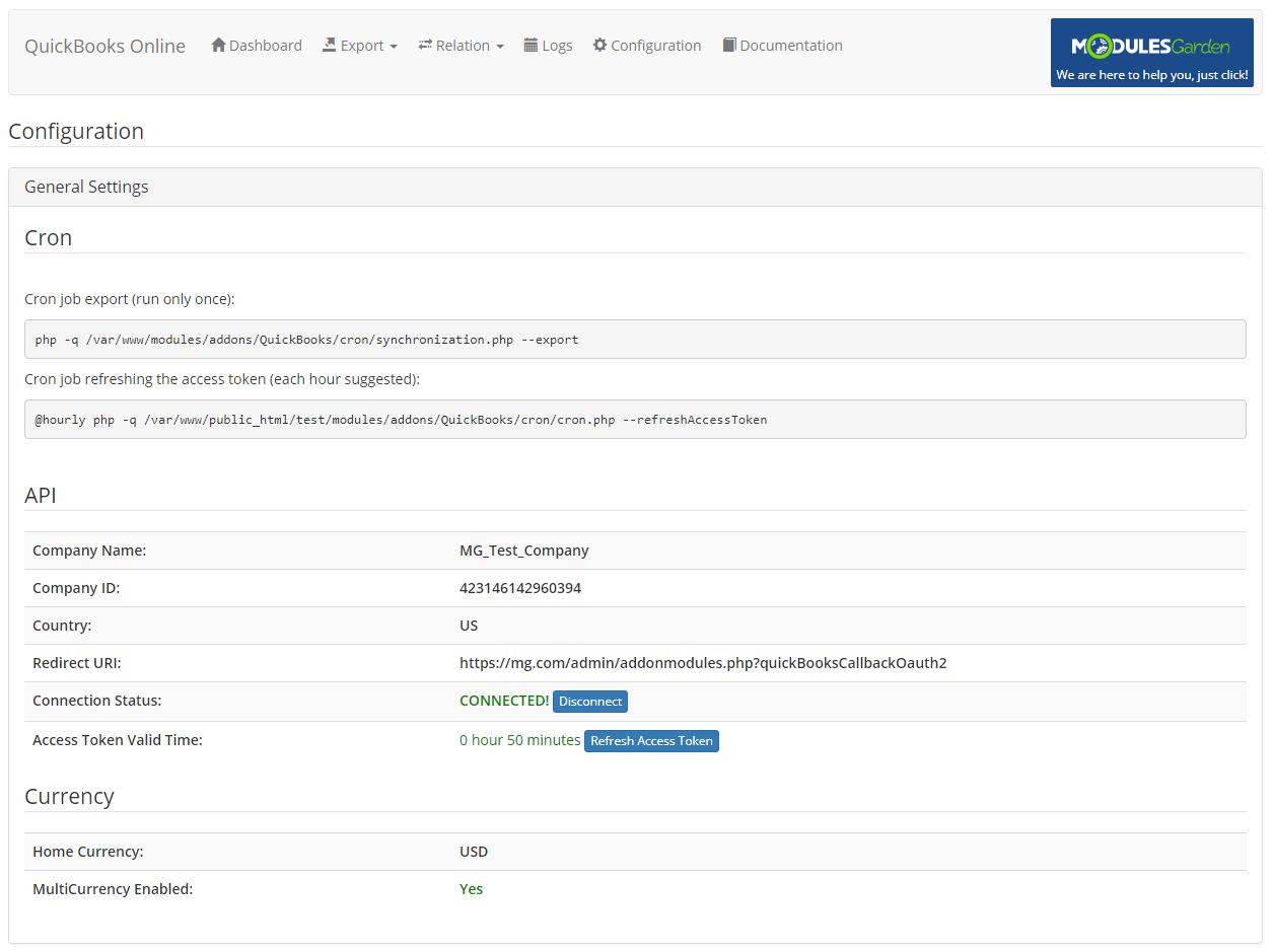 QuickBooks Online For WHMCS: Module Screenshot 19