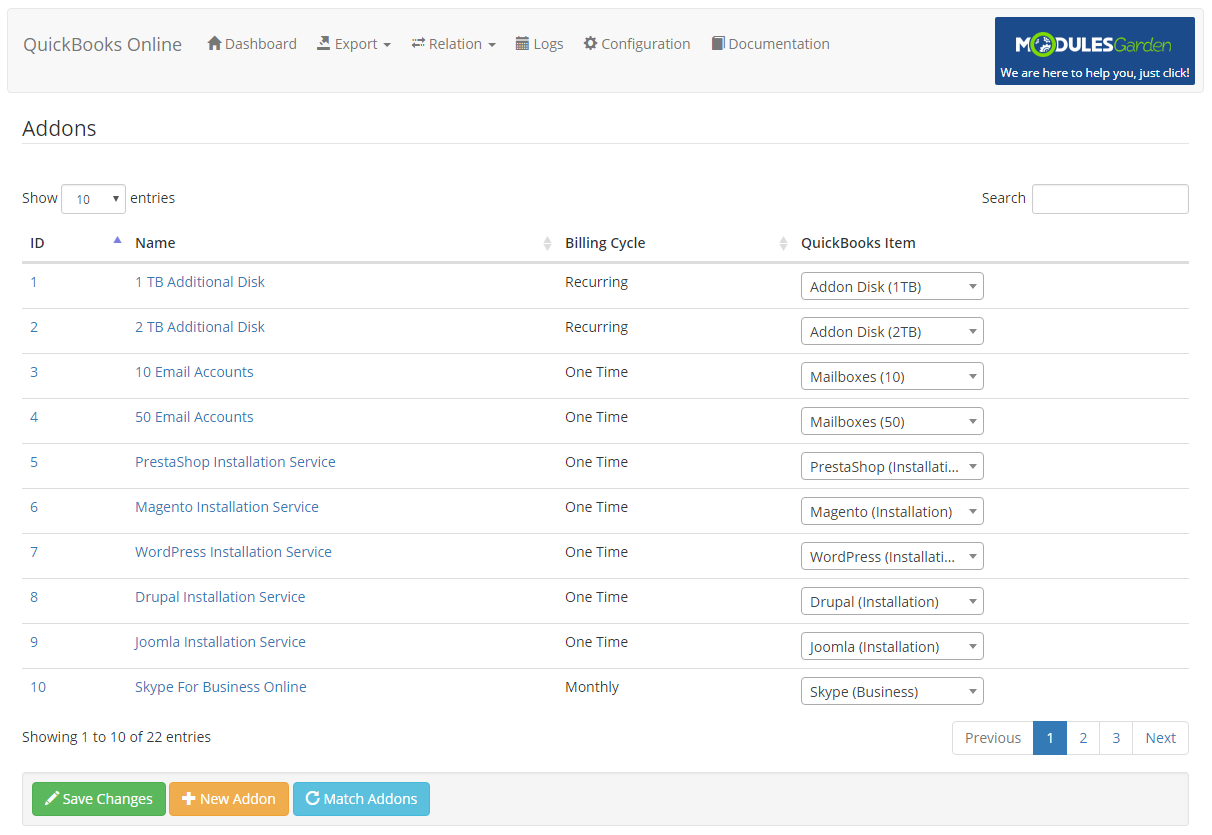 QuickBooks Online For WHMCS: Module Screenshot 10