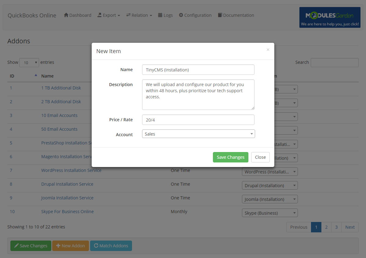 QuickBooks Online For WHMCS: Module Screenshot 11
