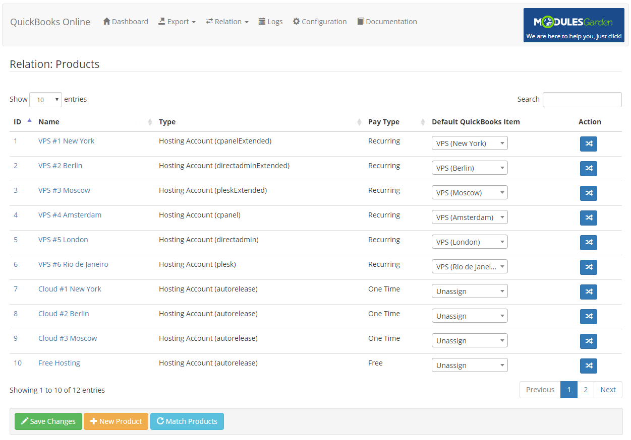 QuickBooks Online For WHMCS: Module Screenshot 6