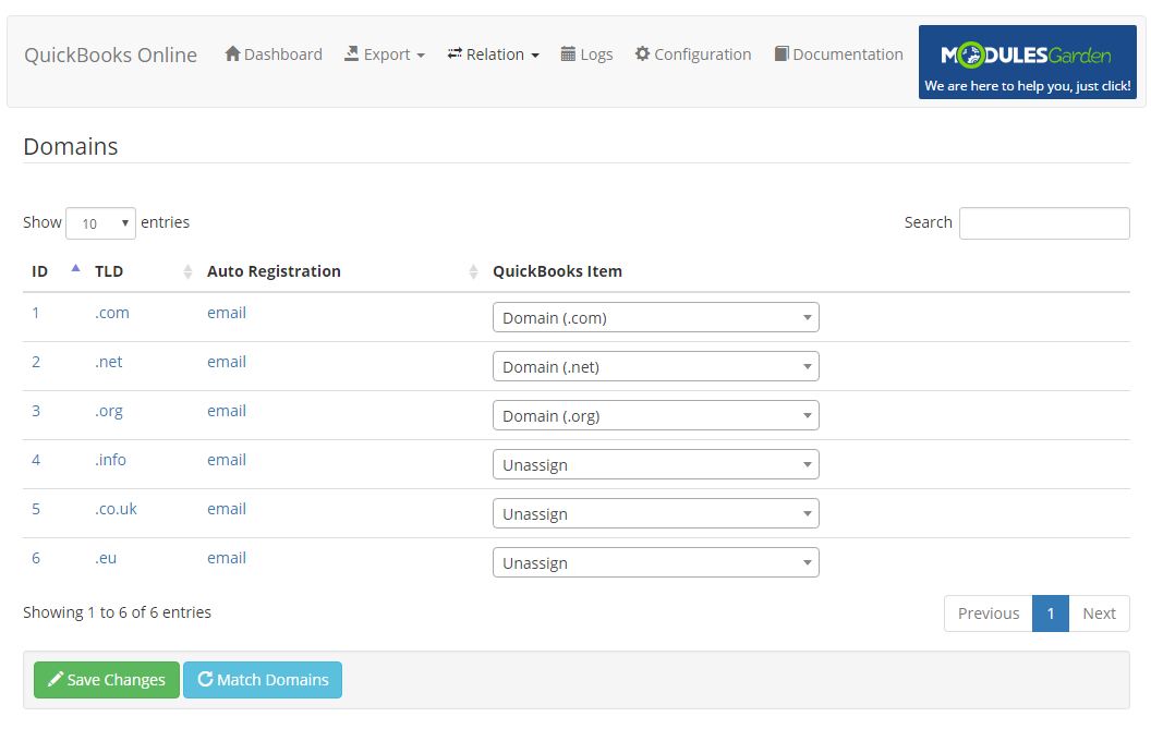 QuickBooks Online For WHMCS: Module Screenshot 9