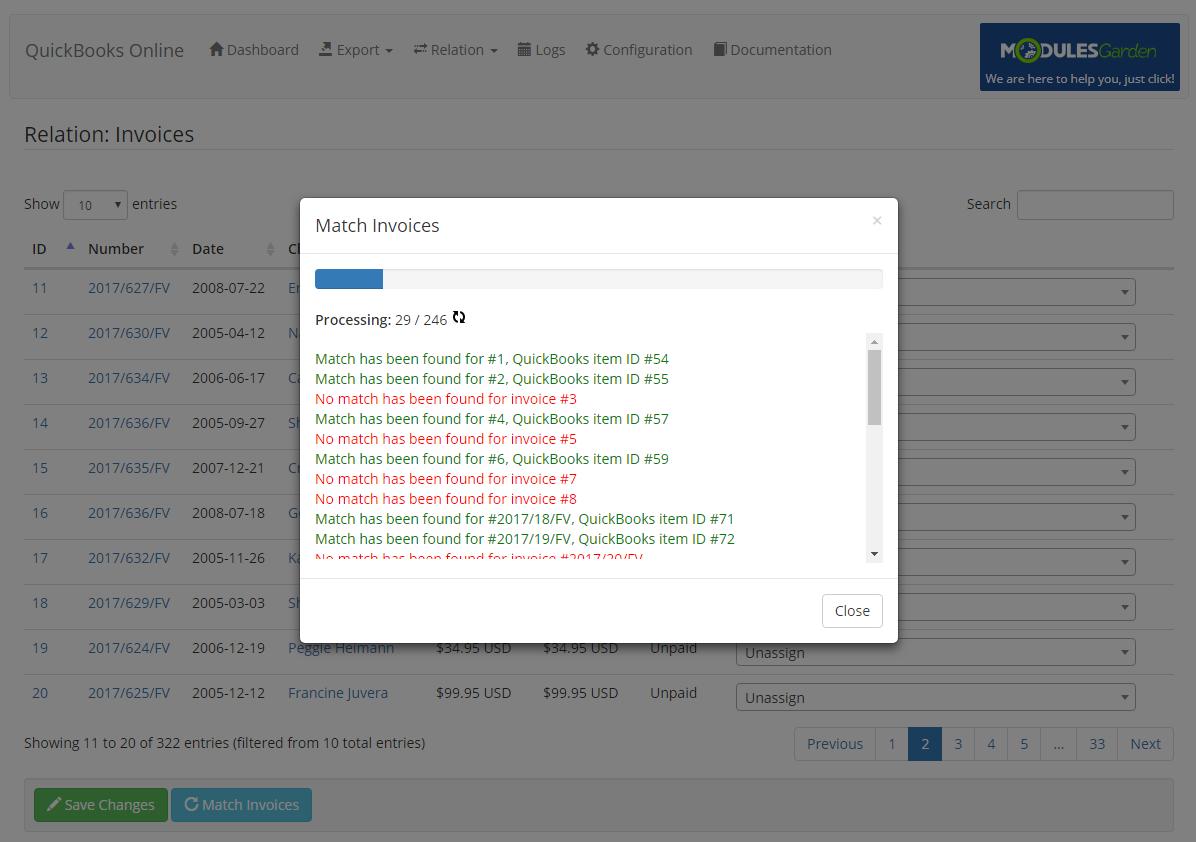 QuickBooks Online For WHMCS: Module Screenshot 14