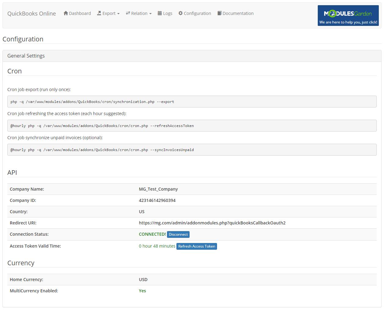 QuickBooks Online For WHMCS: Module Screenshot 20