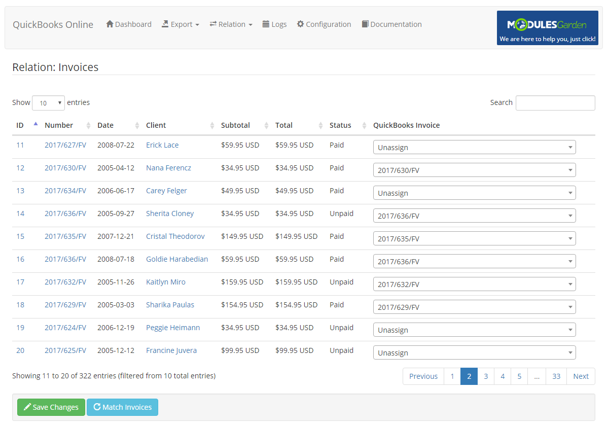 QuickBooks Online For WHMCS: Module Screenshot 13