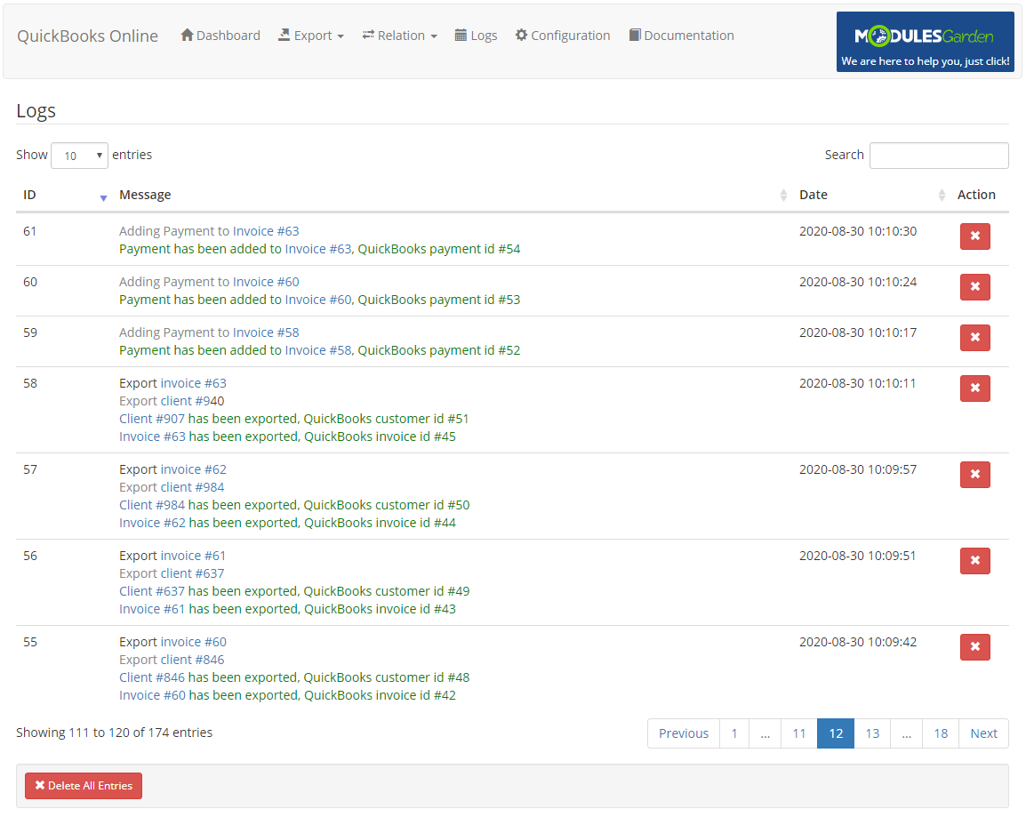 QuickBooks Online For WHMCS: Module Screenshot 21