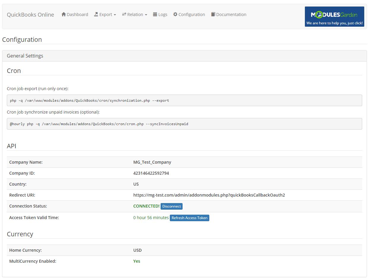QuickBooks Online For WHMCS: Module Screenshot 22