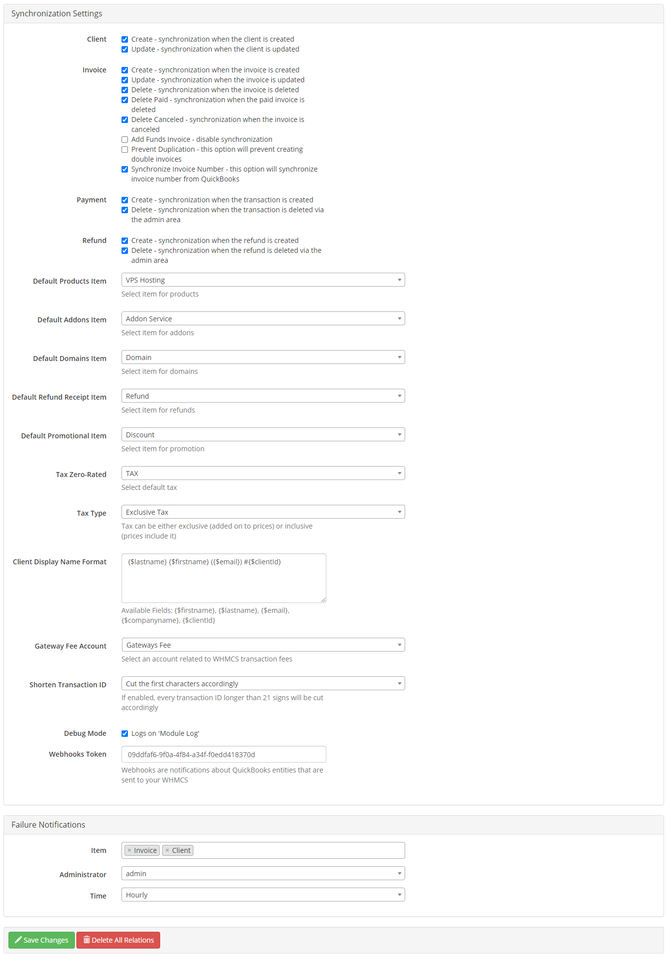 QuickBooks Online For WHMCS: Module Screenshot 23