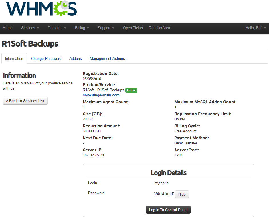 R1Soft Backups For WHMCS: Screen 1