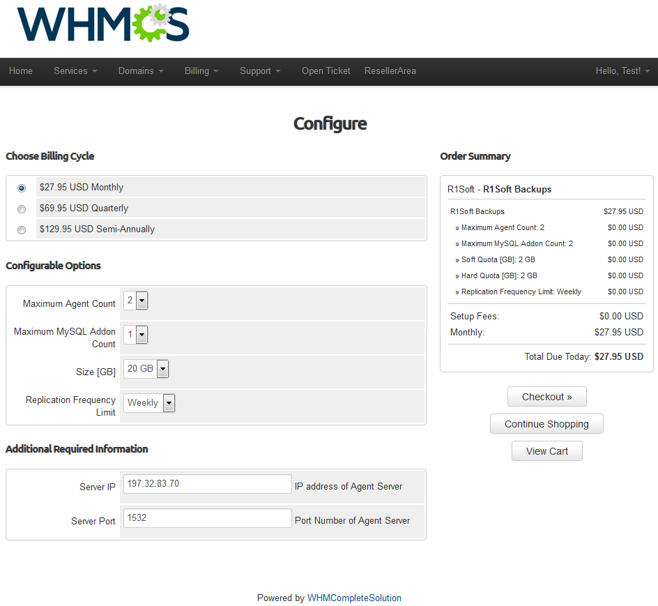 R1Soft Backups For WHMCS: Screen 2