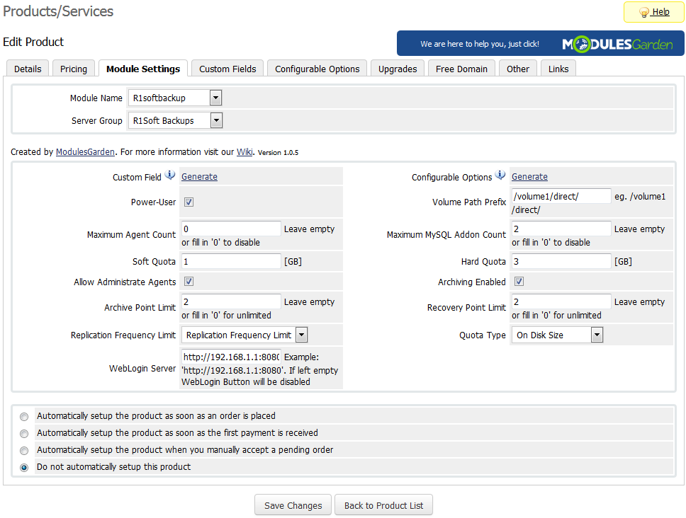 R1Soft Backups For WHMCS: Screen 4