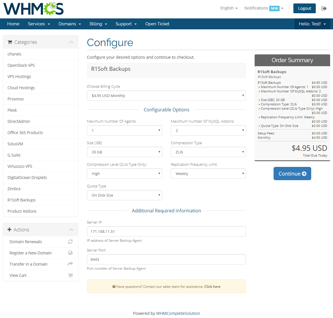R1Soft Backups For WHMCS: Screen 3