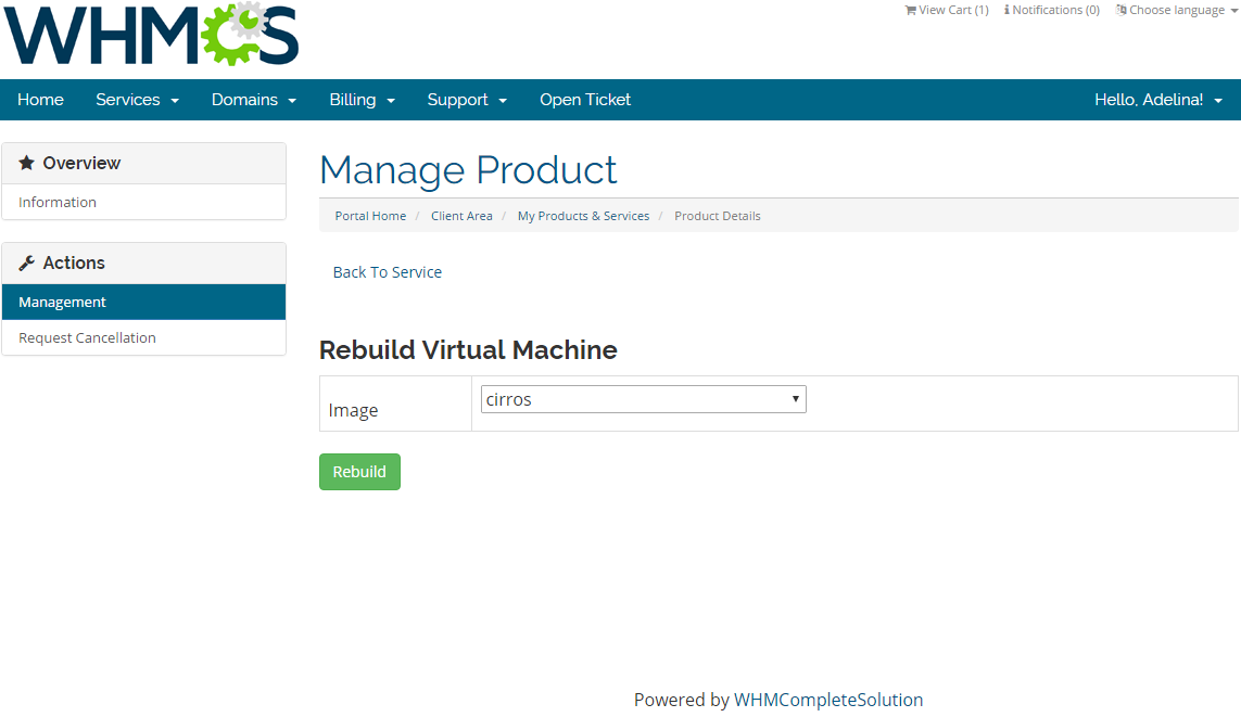Rackspace Cloud OpenStack For WHMCS: Screen 4