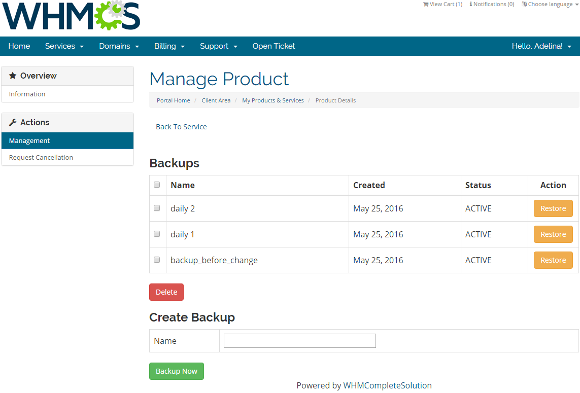 Rackspace Cloud OpenStack For WHMCS: Screen 2