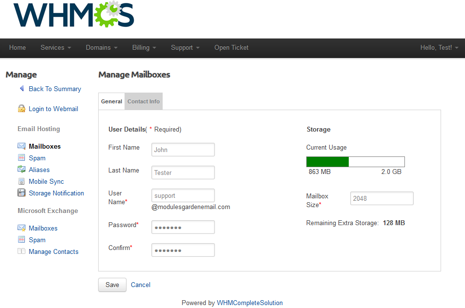 Rackspace Email Extended For WHMCS: Screen 2