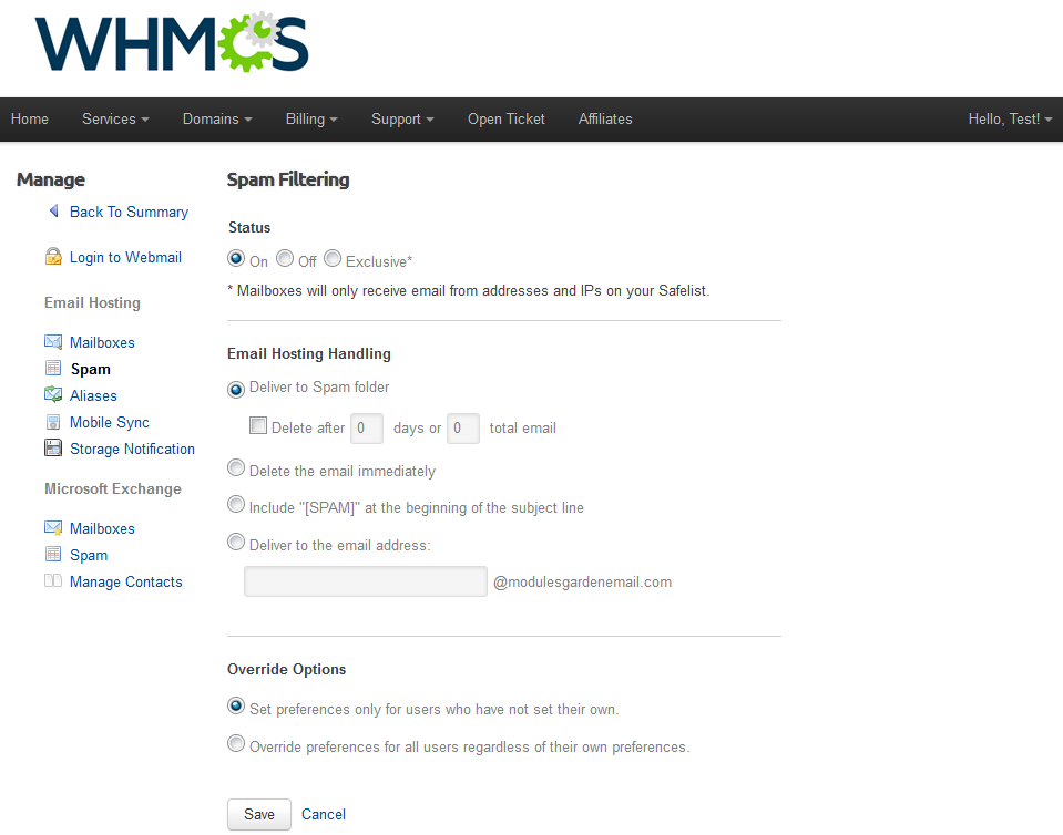 Rackspace Email Extended For WHMCS: Screen 3