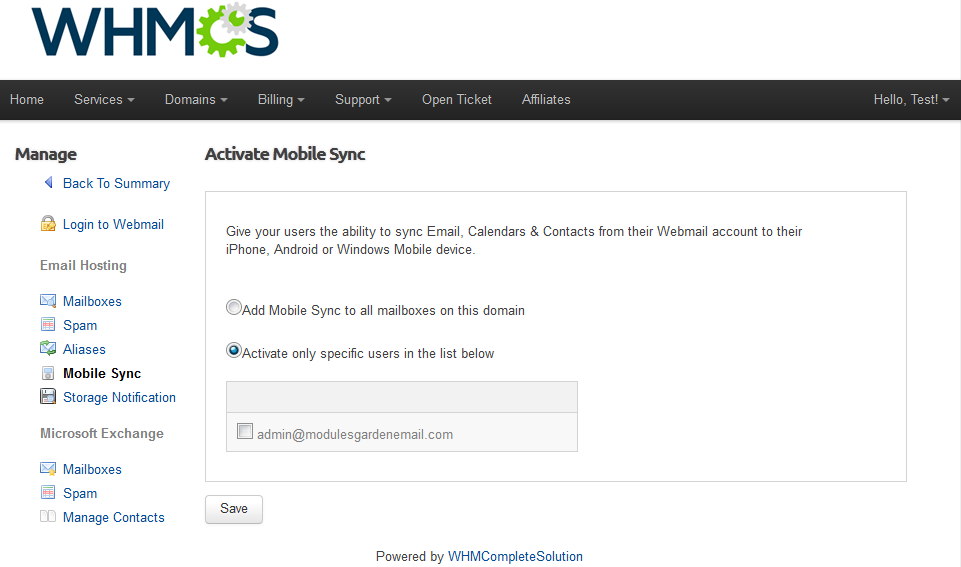 Rackspace Email Extended For WHMCS: Screen 5