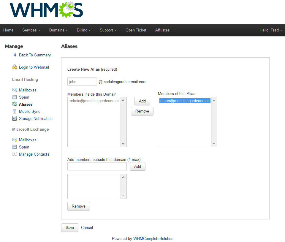 Rackspace Email Extended For WHMCS: Screen 4