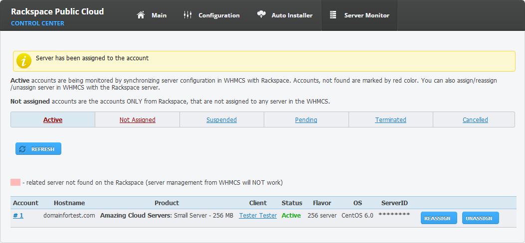 Rackspace Public Cloud For WHMCS: Screen 10