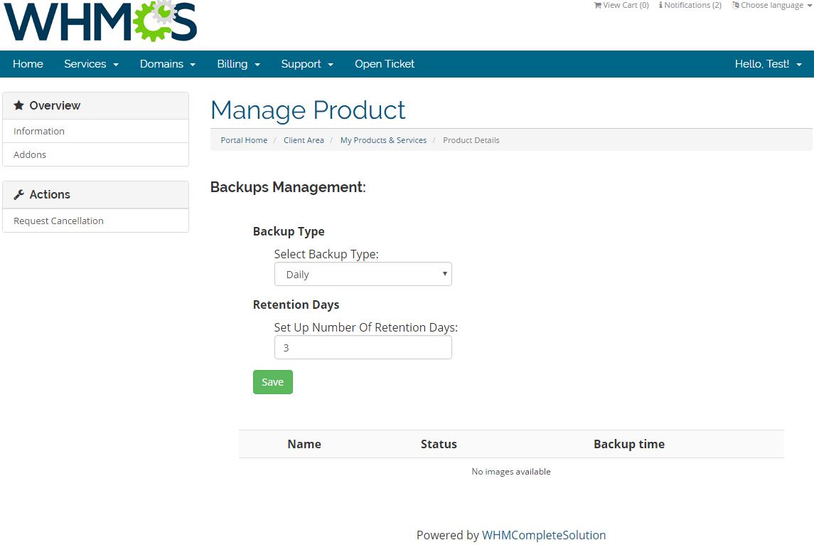 Rackspace Public Cloud For WHMCS: Screen 3