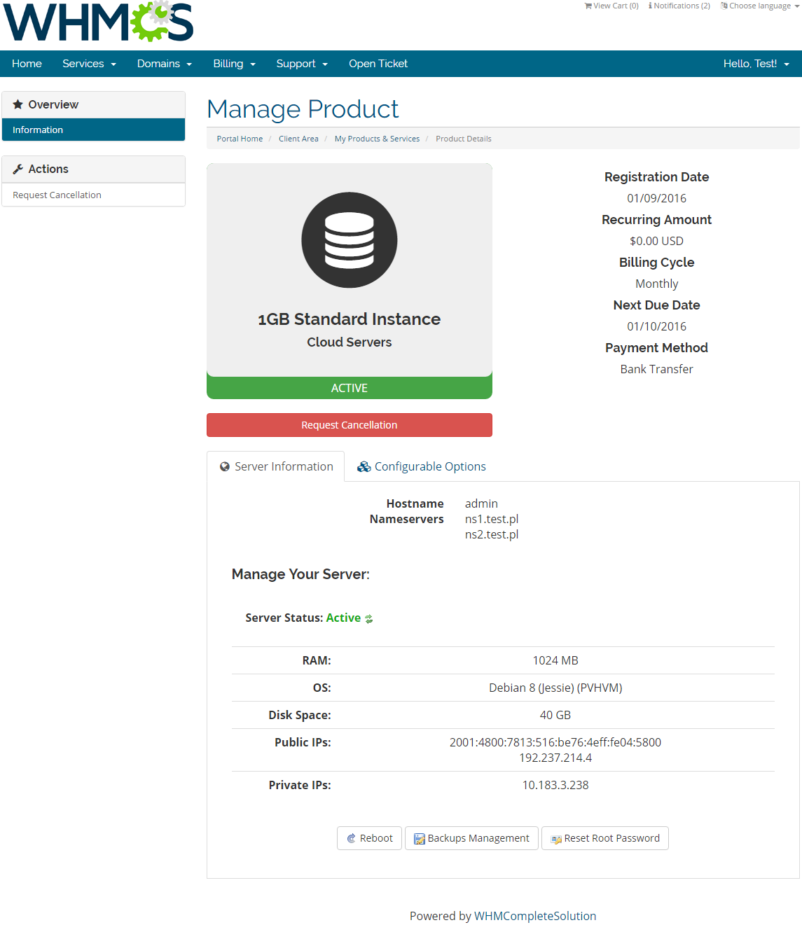 Rackspace Public Cloud For WHMCS: Screen 1