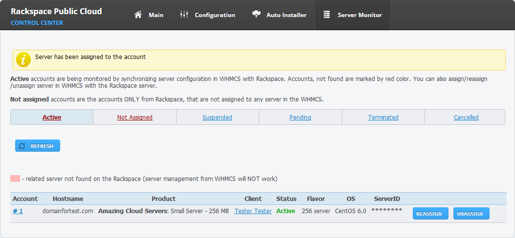 Rackspace Public Cloud For WHMCS: Screen 10