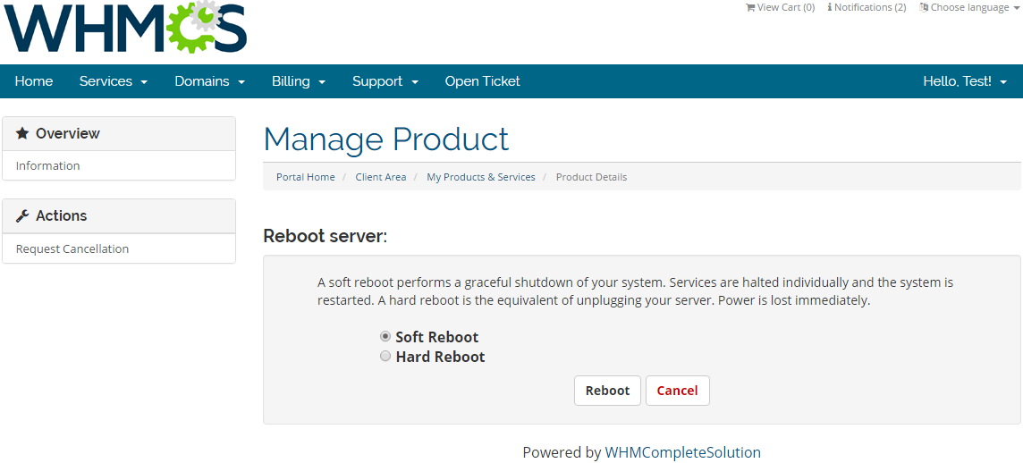 Rackspace Public Cloud For WHMCS: Screen 2