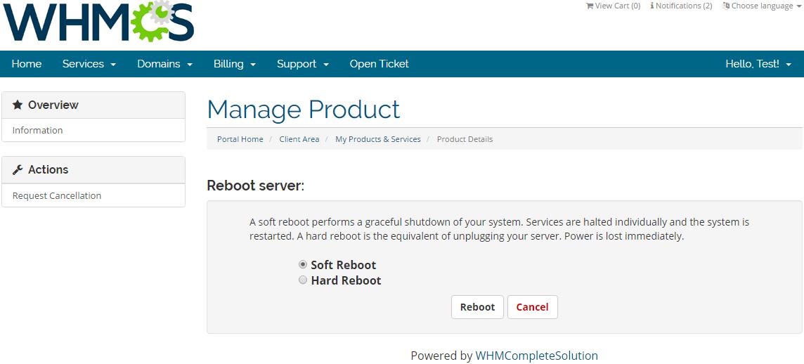 Rackspace Public Cloud For WHMCS: Screen 2