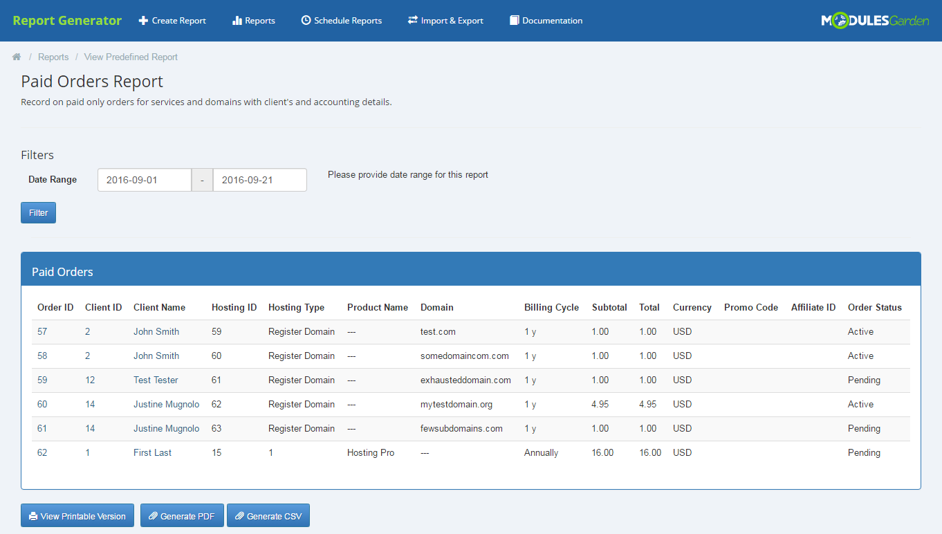 Report Generator For WHMCS: Screen 18